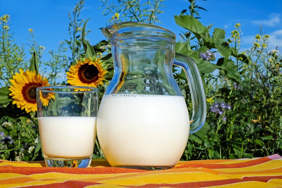 kande og glas med mælk i det fri