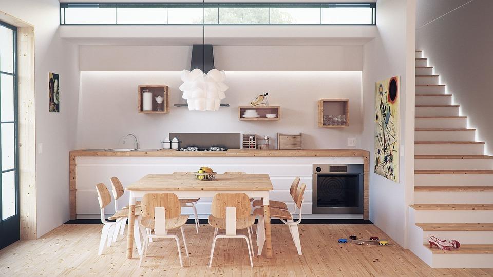 Minimalistisk køkkenrum