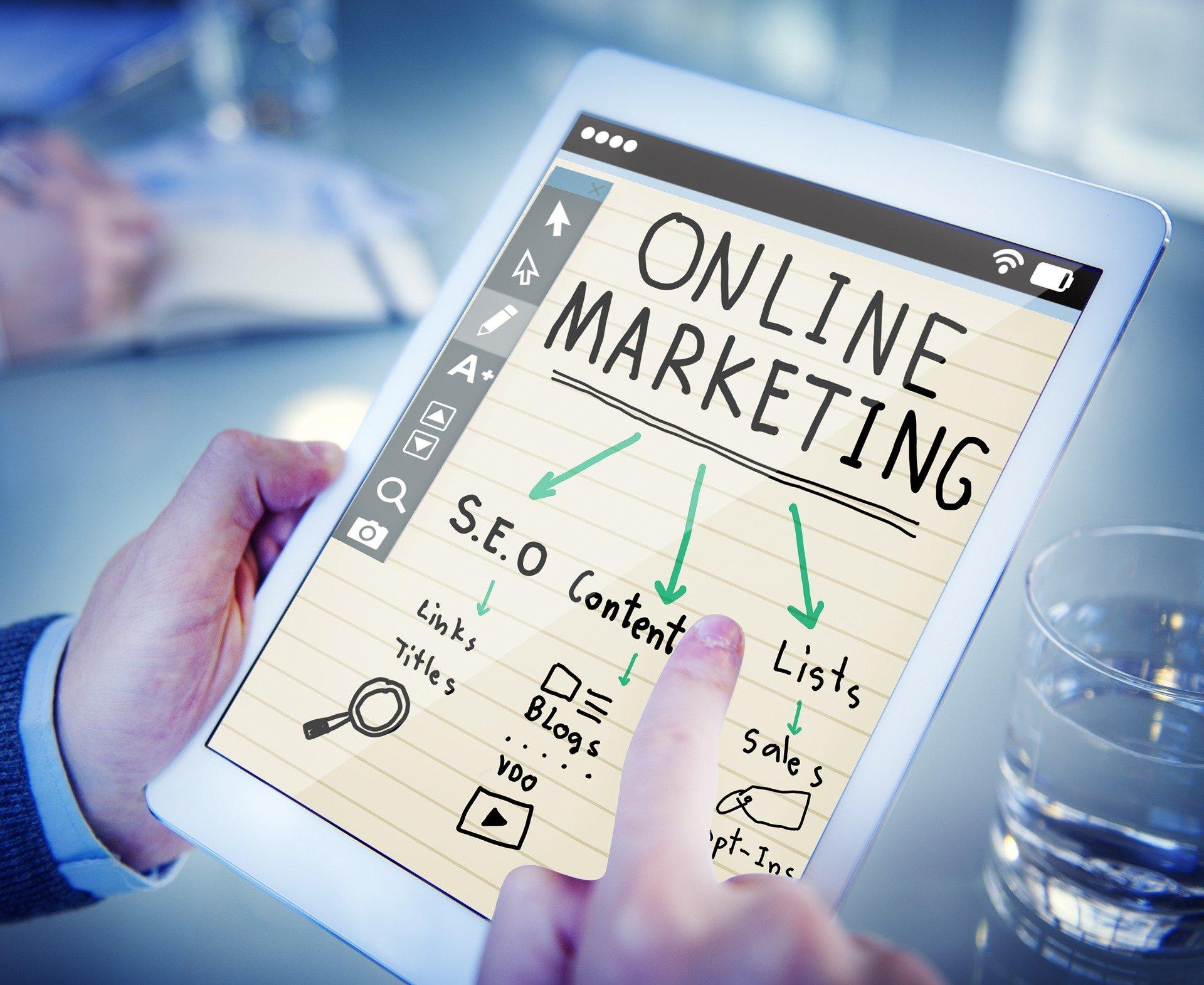 online markedsføring forklaret på et billede