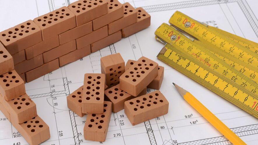 Tommestok, mursten, tegning